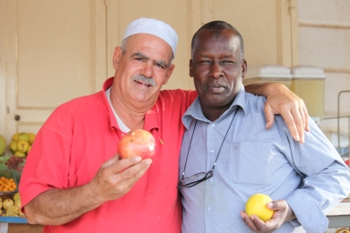 11.11.14 Jericho fruit stand owner and friend